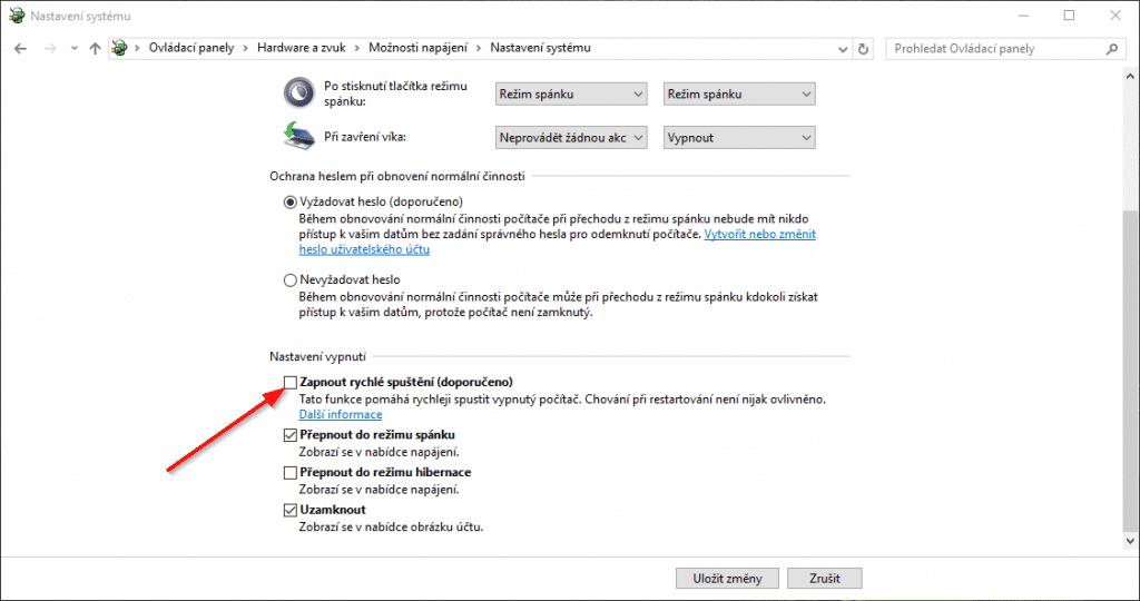 rychlé spuštění Windows