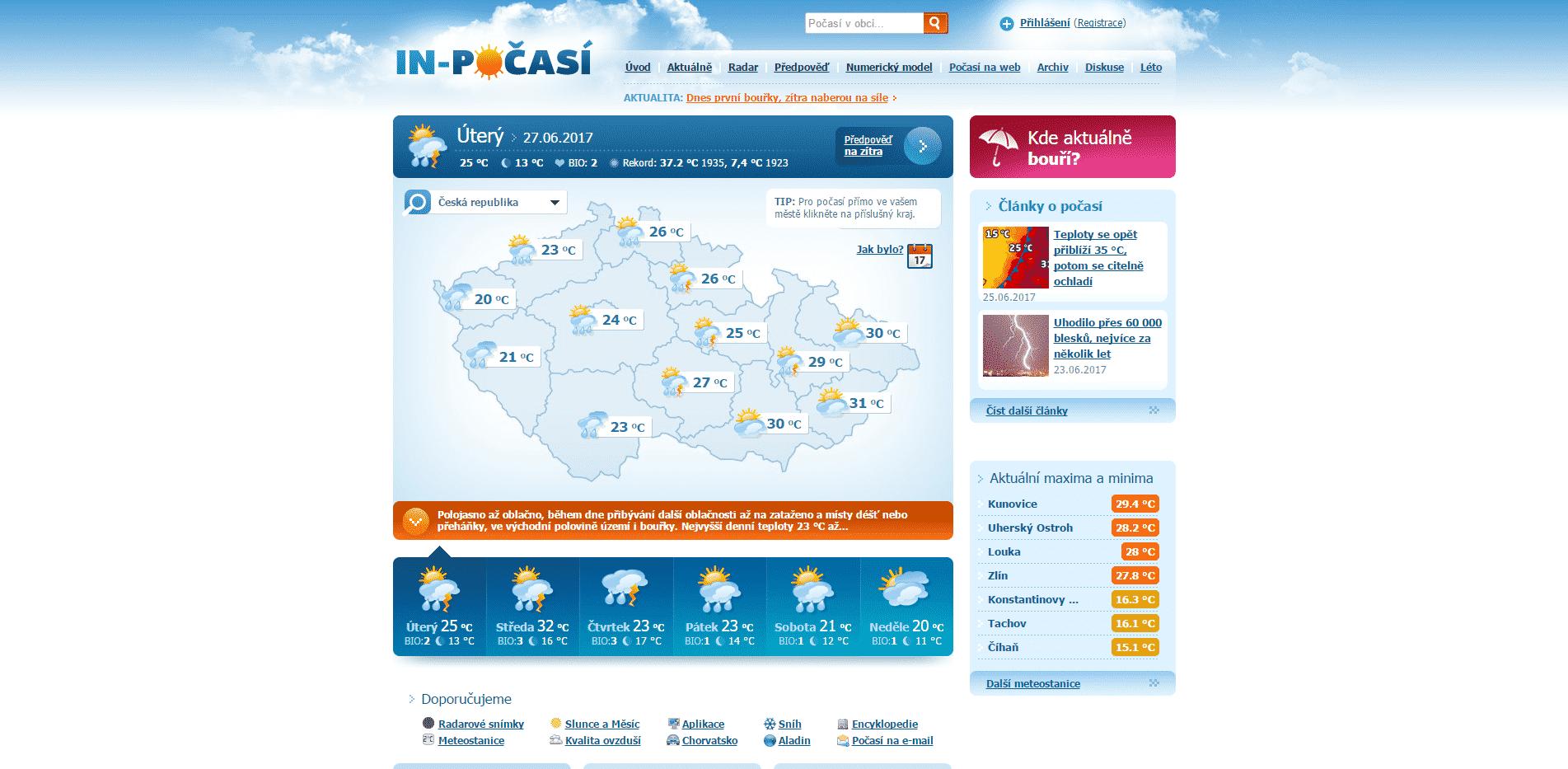 In-počasí.cz - titulní strana