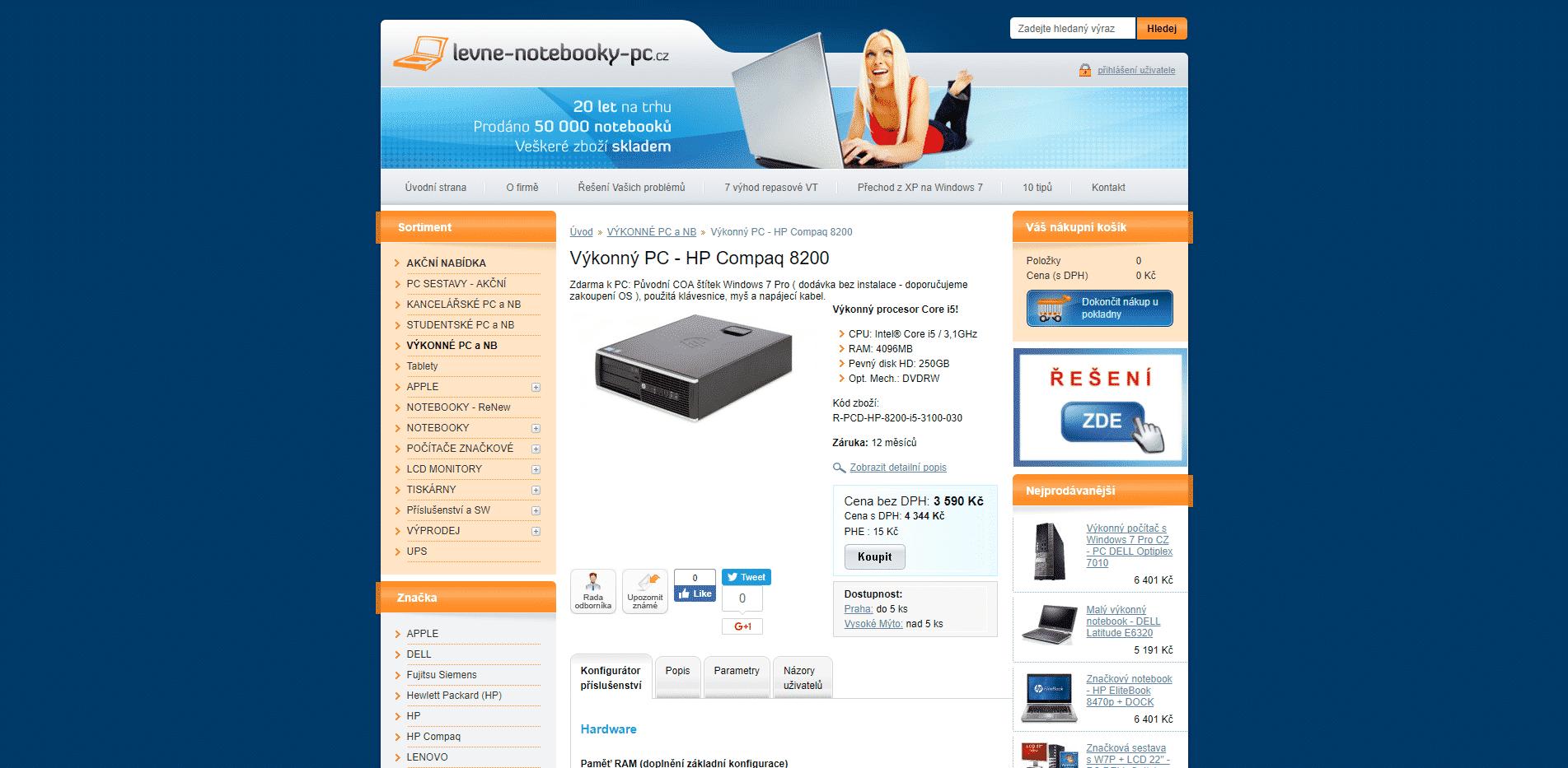 Výkonný PC HP Compaq 8200