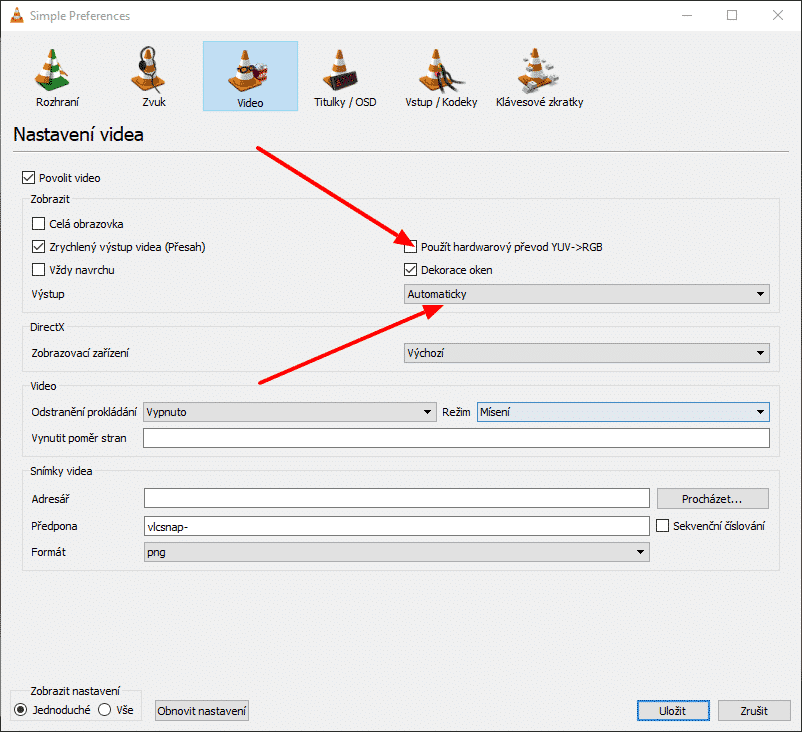 VLC media Player, nastavení černé
