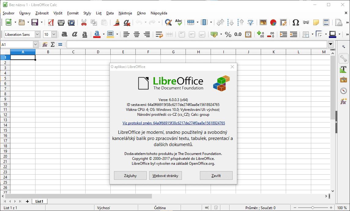 LibreOffice 6, tabulka