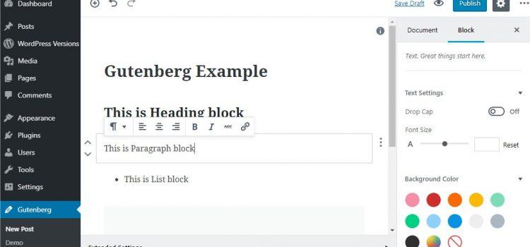 WordPress, Gutenberg editor
