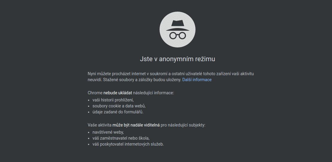 Anonymní režim Google Chrome
