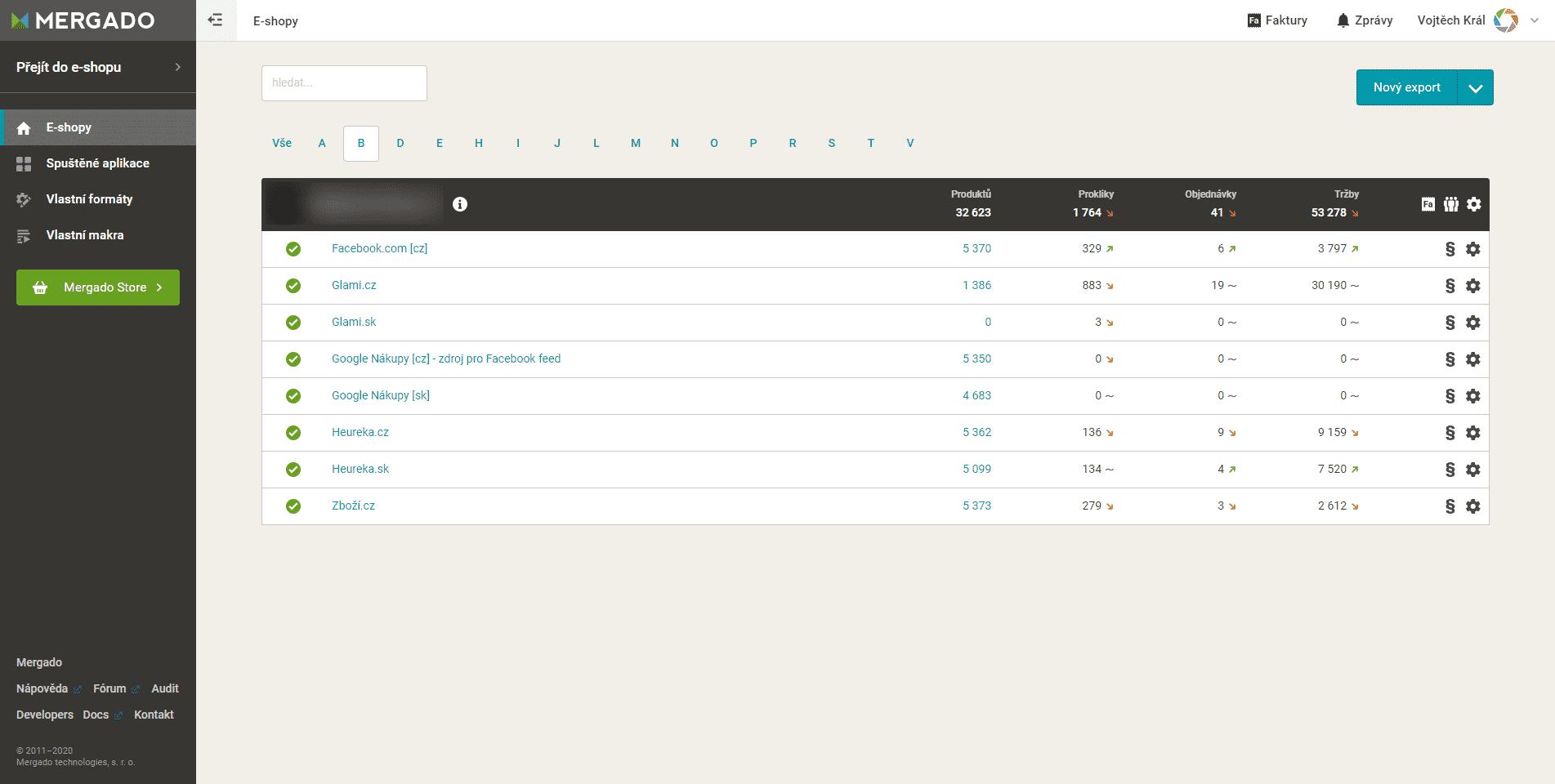 Mergado, výčet exportů jednoho e-shopu