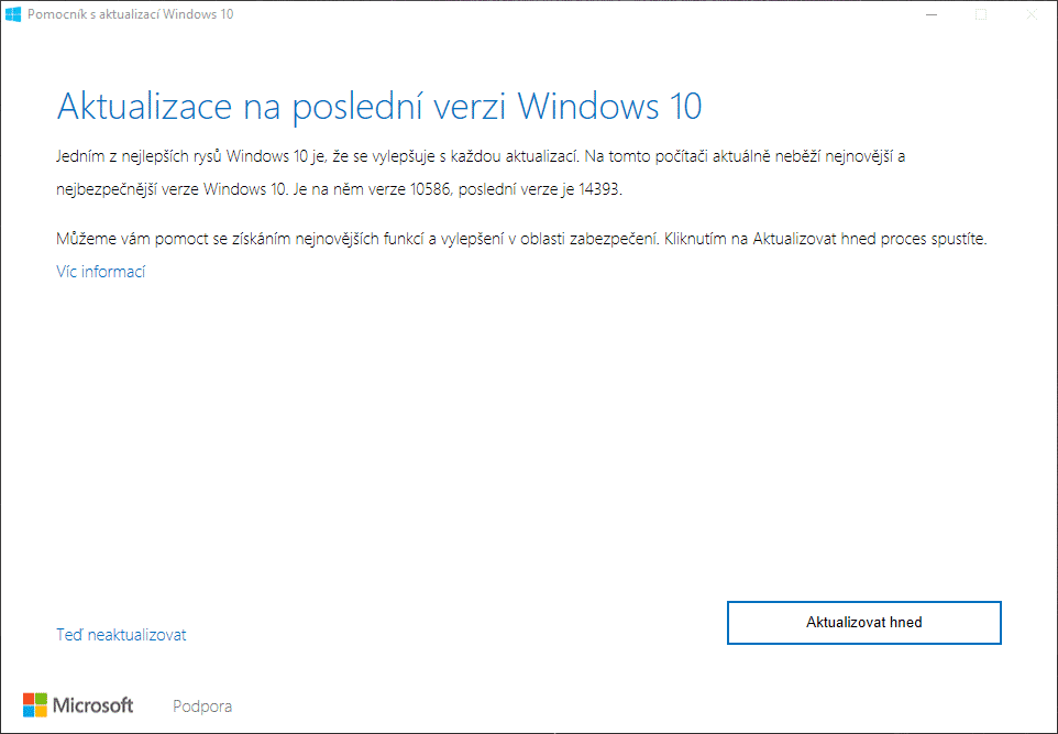 windows 10 aktualizace