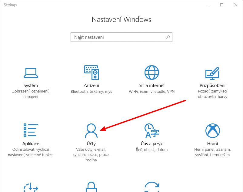 Windows 10 Nastavení