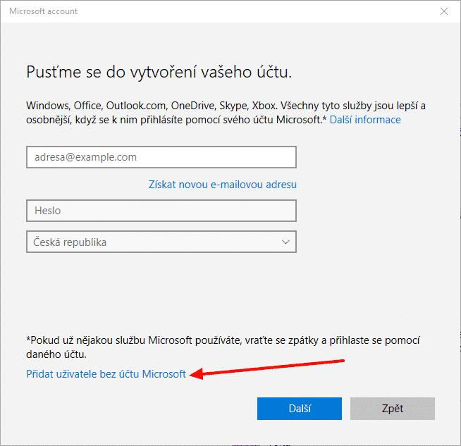 Windows 10 Přidání uživatele bez účtu Microsoft