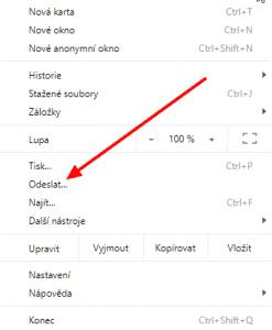 Google Chrome menu, Odeslat