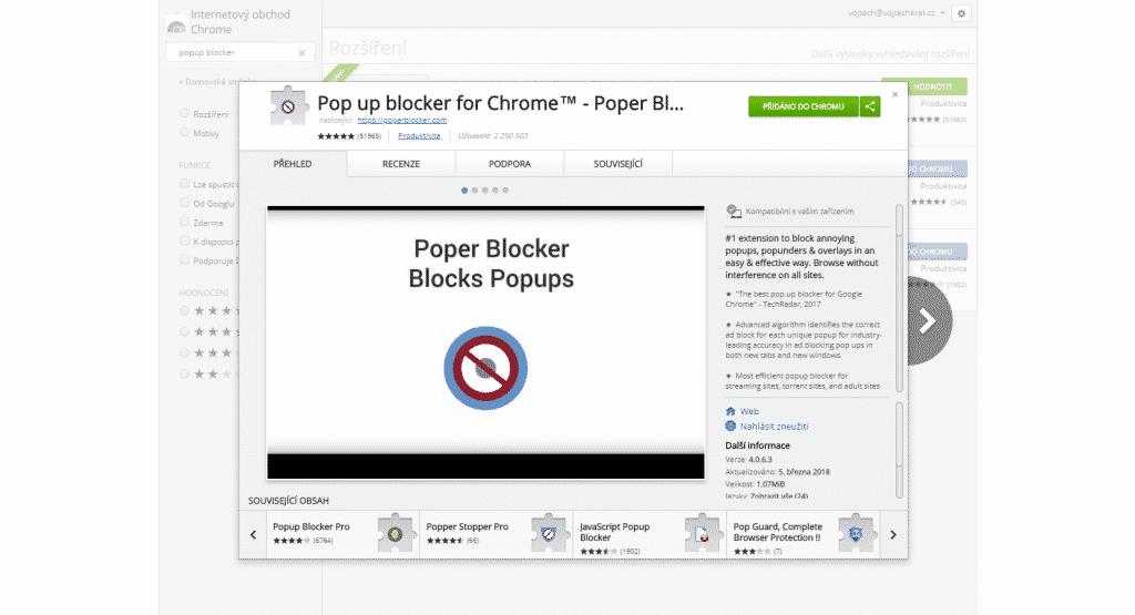 Popup blocker pro Chrome