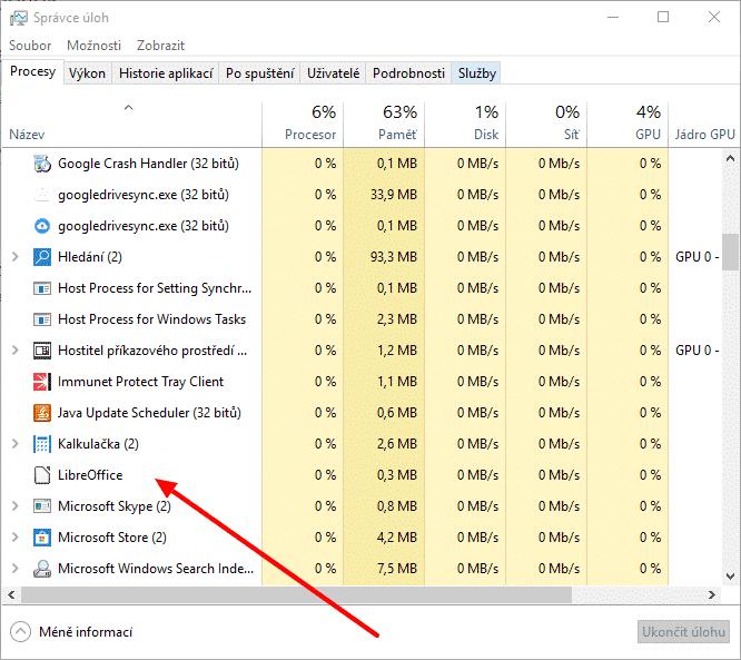 Správce úloh LibreOffice