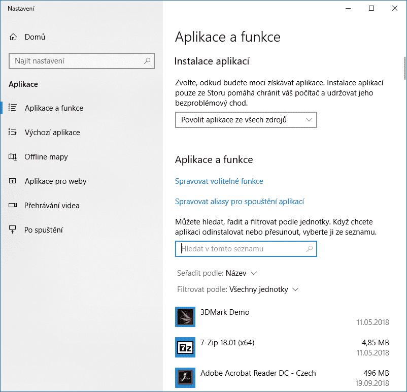Aplikace a funkce, Windows 10