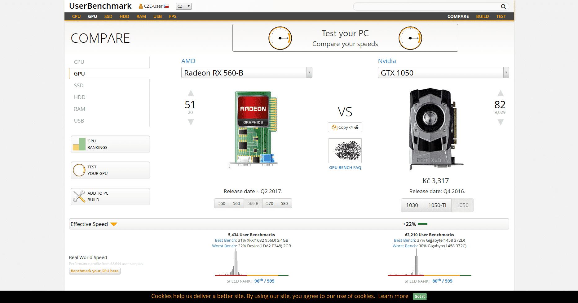 UserBenchmark.com - RX 560-B vs GTX 1050