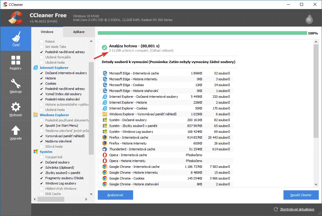 CCleaner, analýza na vyčištění 5,5 GB