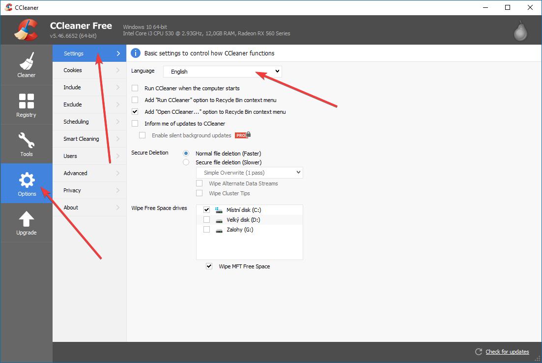 CCleaner, přepínání jazyka aplikace