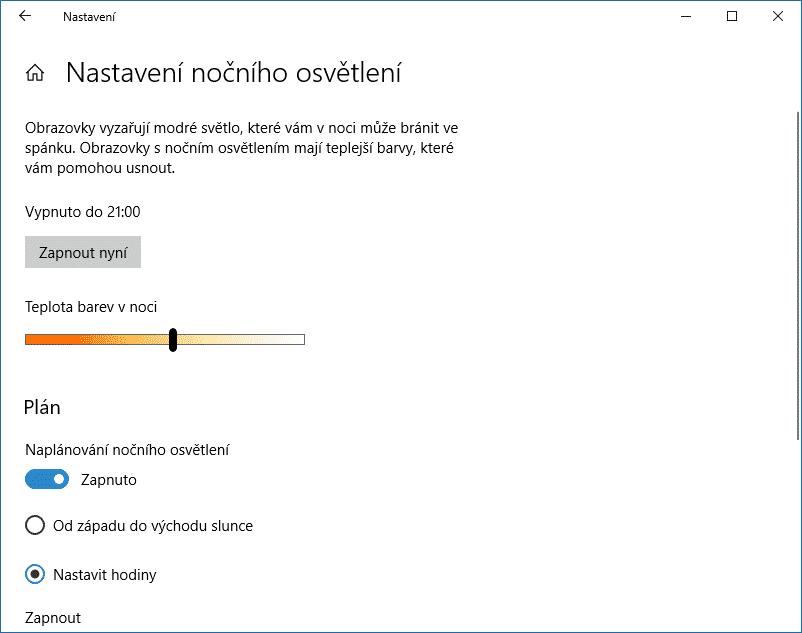 Nastavení nočního osvětlení, Windows 10