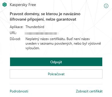 Kaspersky Free, propojení s Mozilla Thunderbird