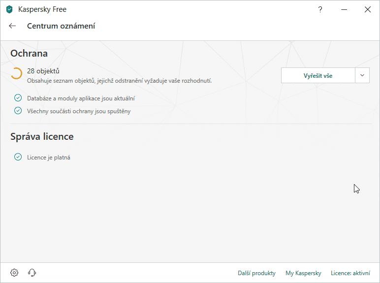 Kaspersky Free, výsledek kontroly