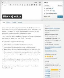 Klasický editor WordPress