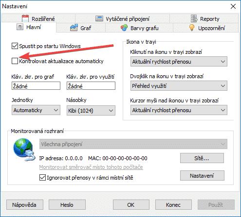 NetWorx, kontrolovat aktualizace automaticky