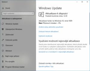 Windows Update, verze 1809