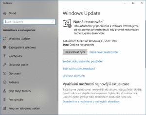 Windows Update, verze 1809, restartování