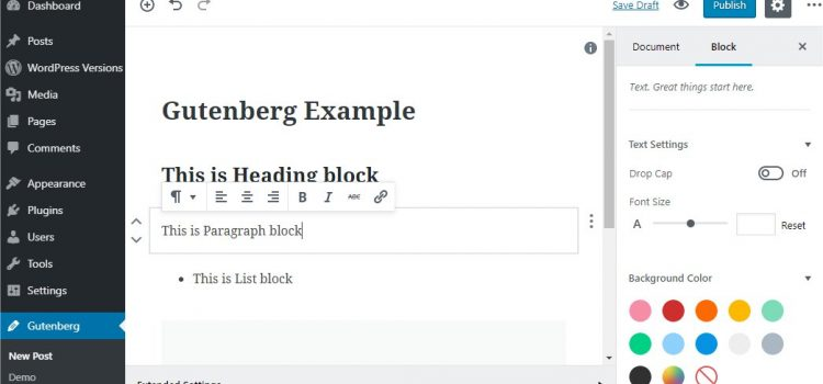 WordPress, Gutenberg editor