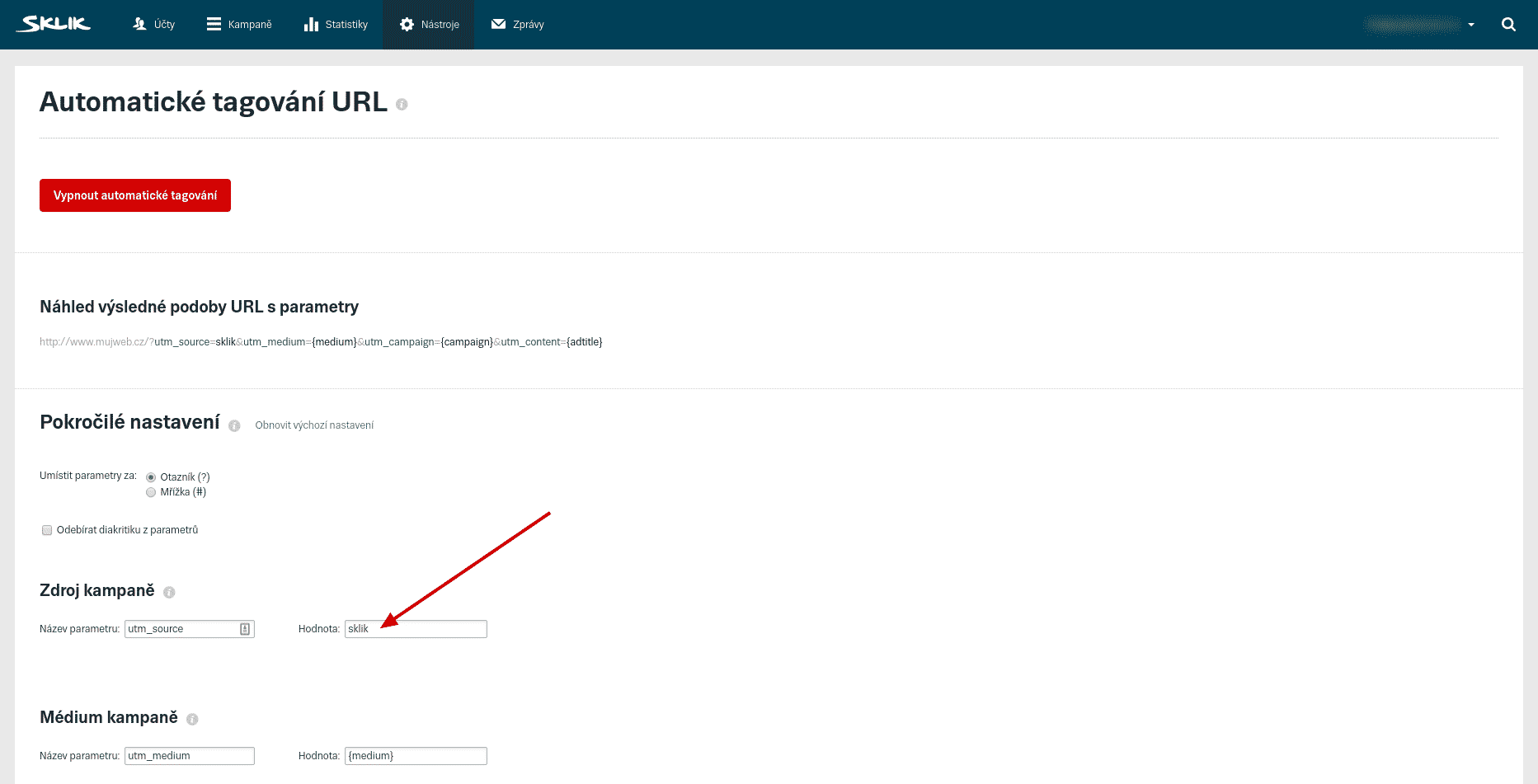 Sklik, automatické tagování, přepsaný Zdroj kampaně