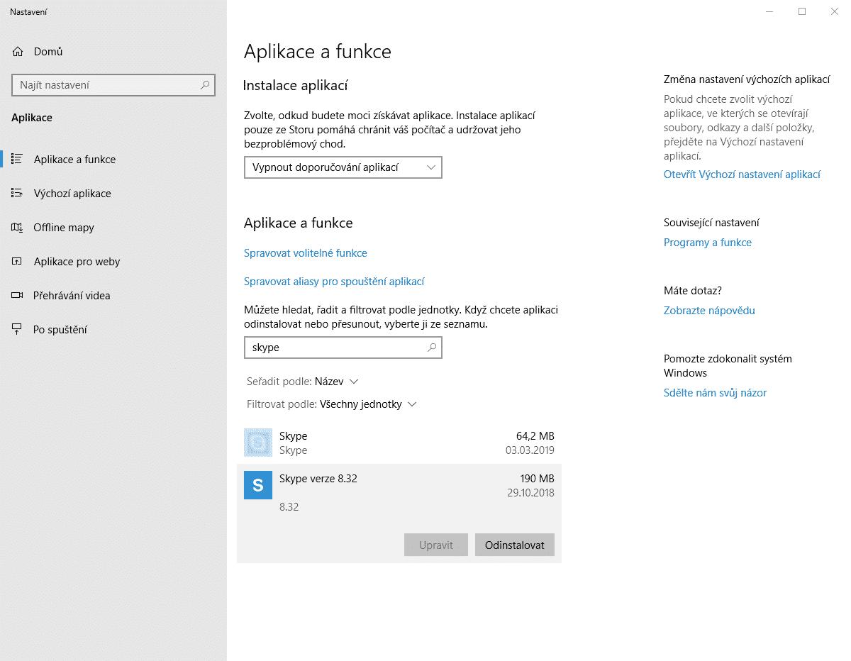 Aplikace a funkce, odinstalování Skype