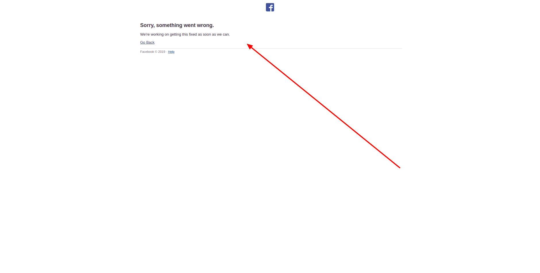 Facebook Business, chyba