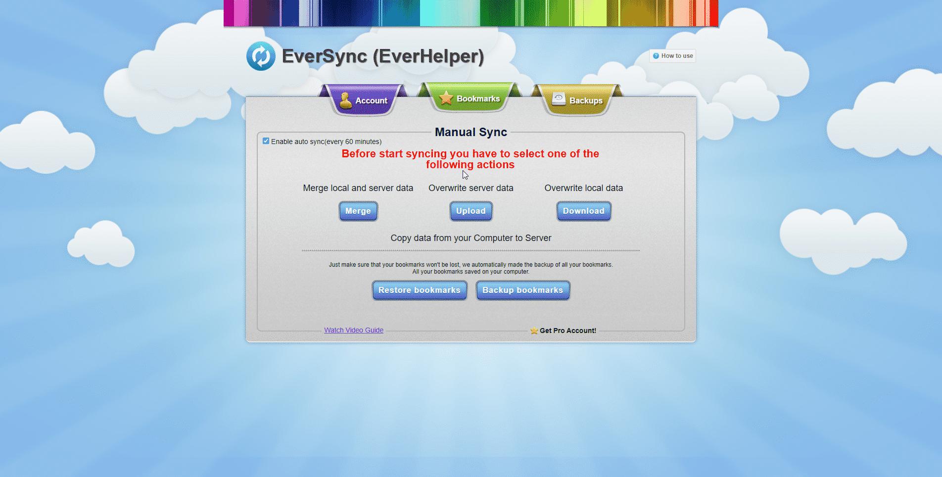 Nastavení synchronizace EverSync v Brave prohlížeči