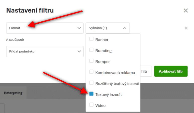 Seznam Sklik, nastavení filtru pro zobrazení klasických textových reklam