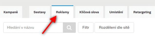 Seznam Sklik, přepnutí na zobrazení reklam