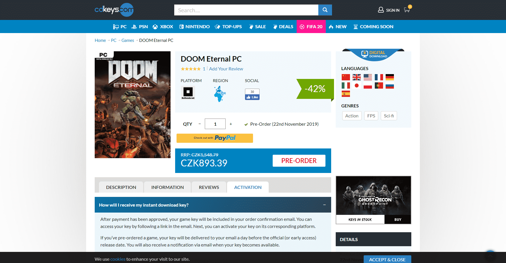 Doom Eternal na CDKeys.com