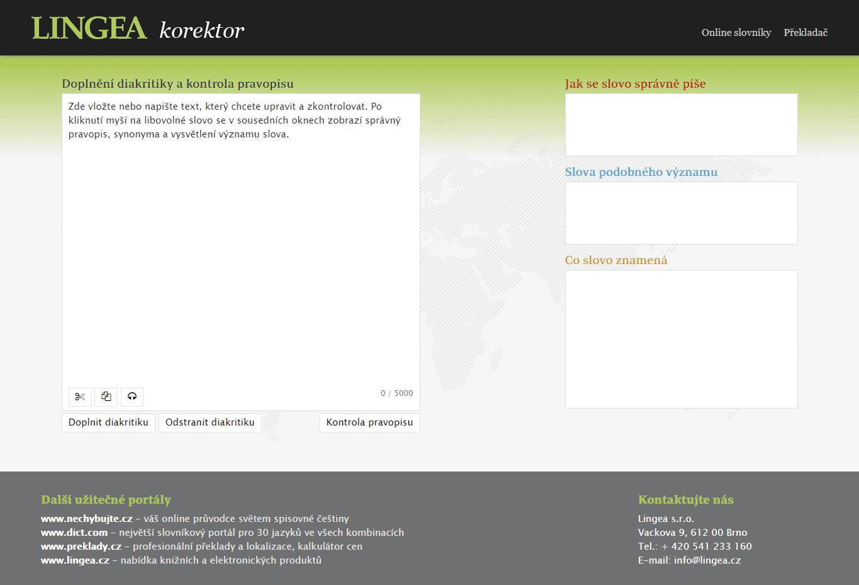 Korektor, online aplikace společnosti Lingea