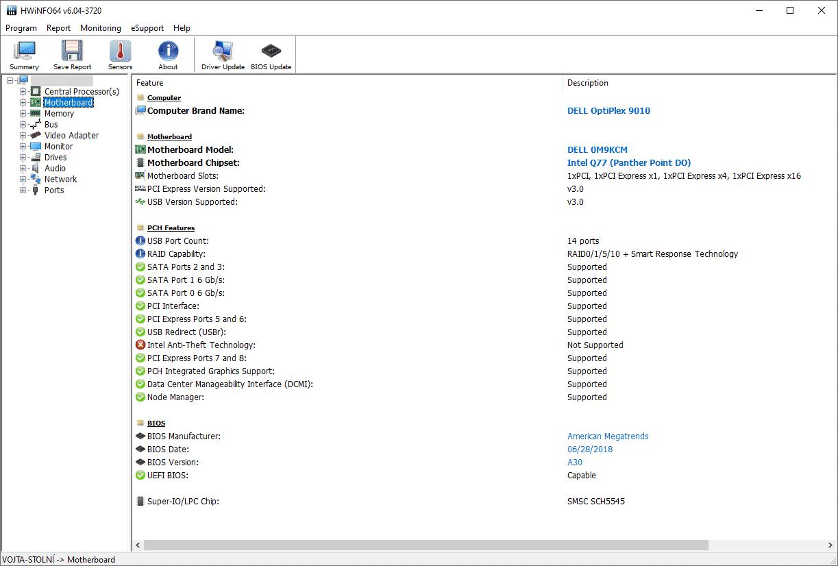 Základní deska DELL 0M9KCM, údaje z HWiNFO64