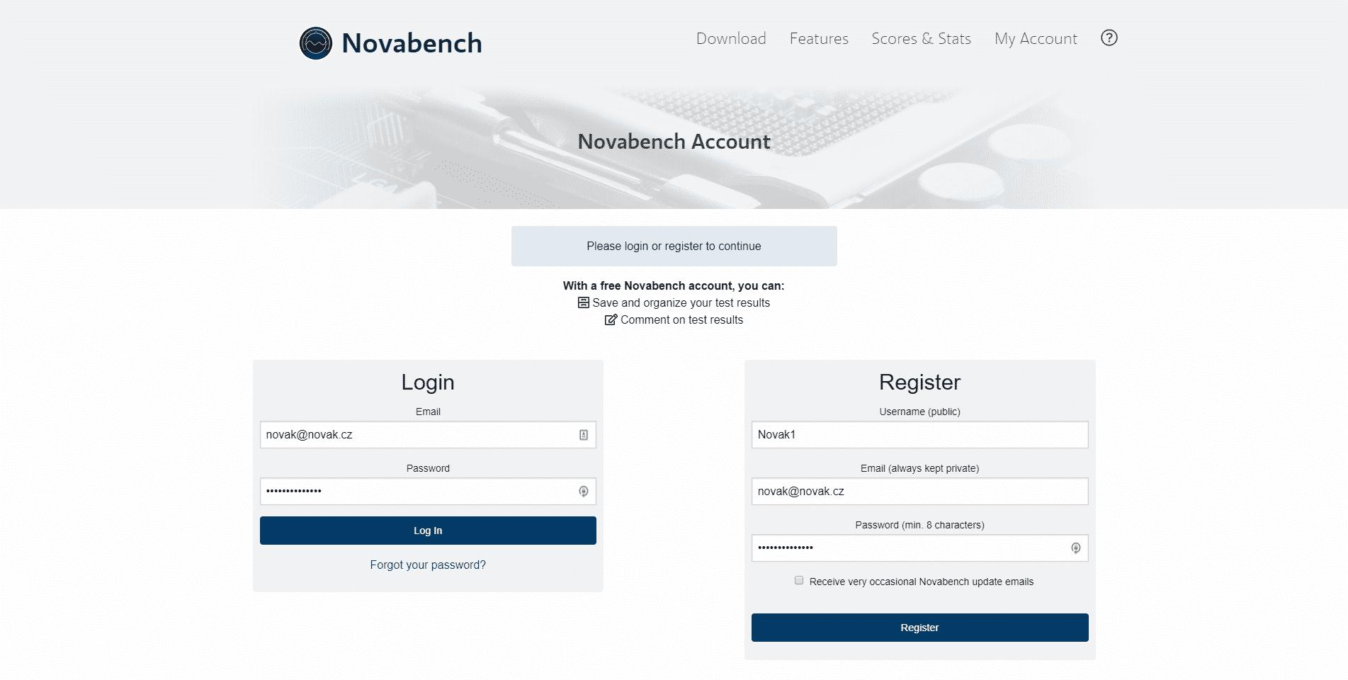 Novabench, registrační a přihlašovací stránka