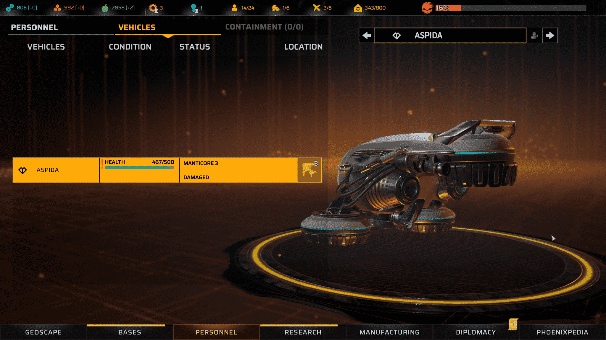 Phoenix Point, mechanický létavec ASPIDA je velice dobrá podpora misí