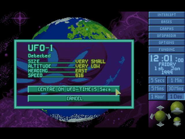 UFO Enemy Unknown (1994), velmi malé ufo detekováno