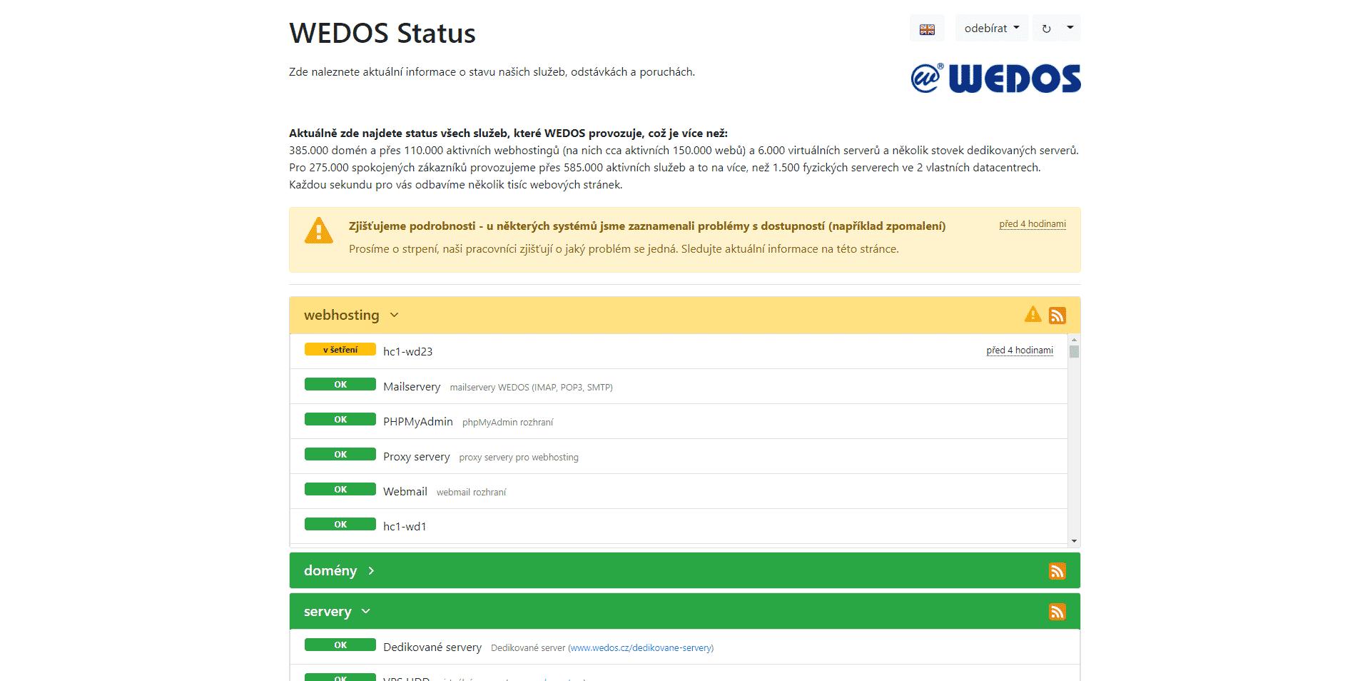 Wedos Status, problémy s dostupností