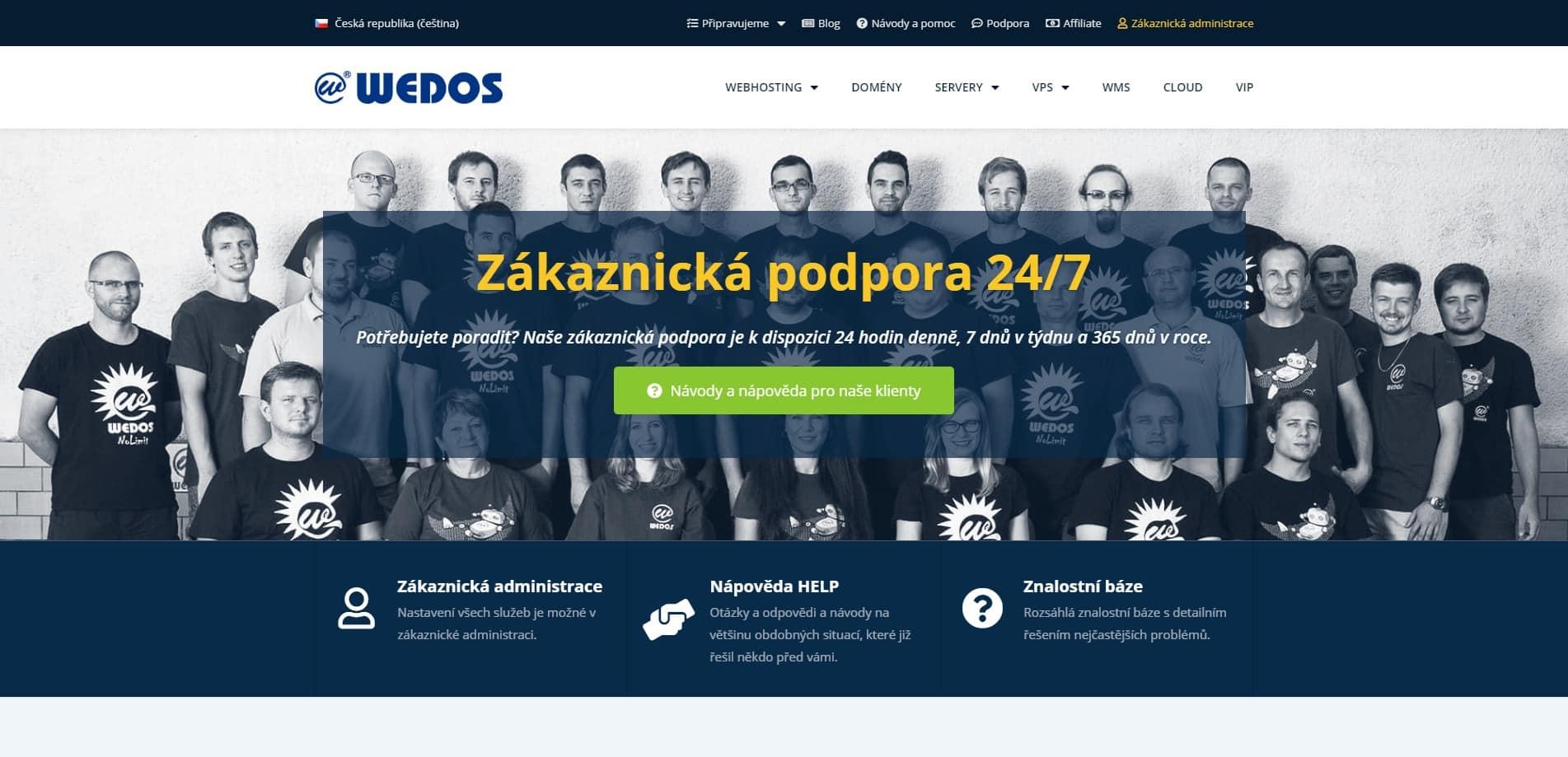 Snímek titulní stránky zákaznické podpory WEDOS, fotografie členů týmu