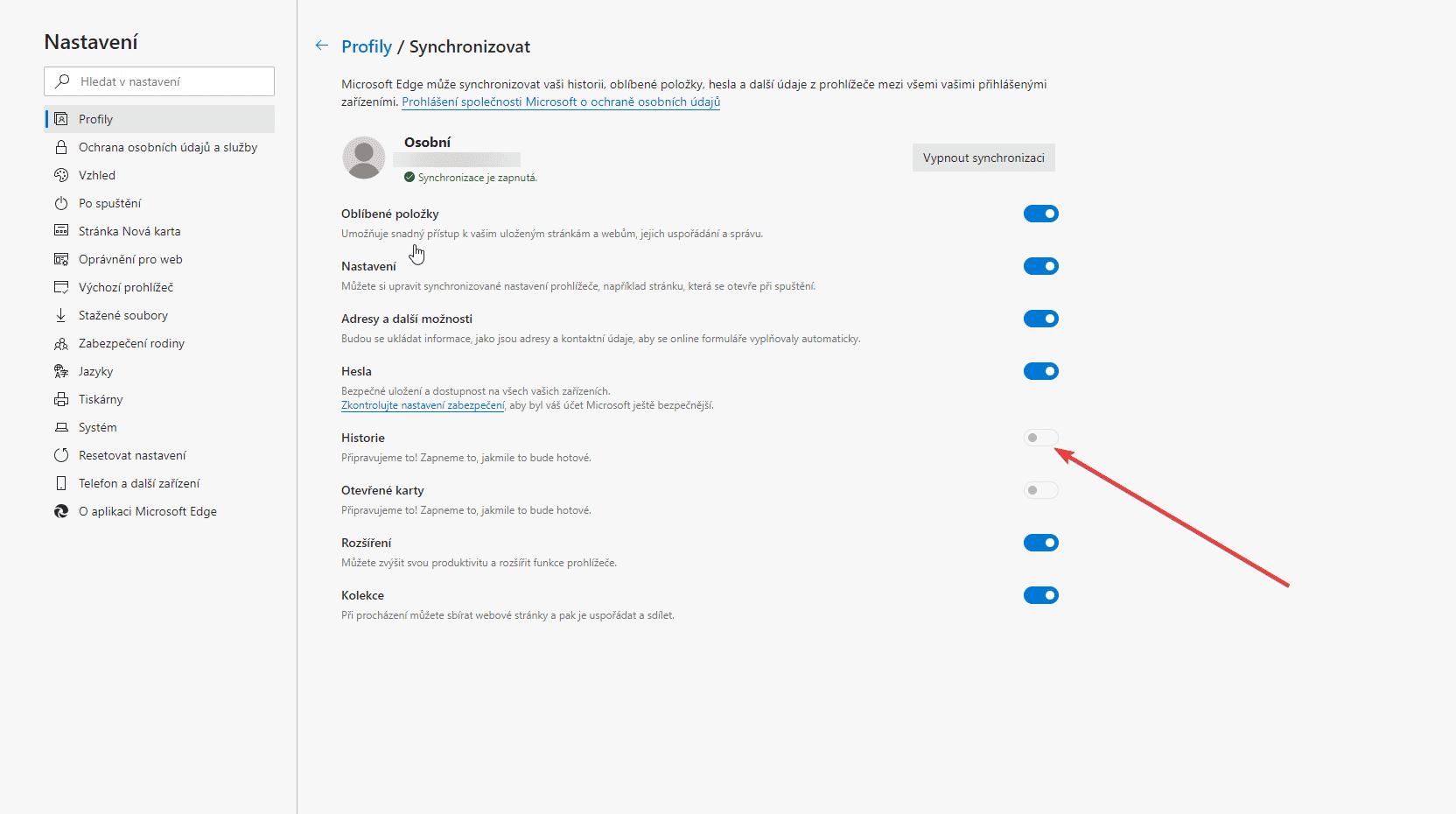 Historie prohlížeče Microsoft Edge se nesynchronizuje