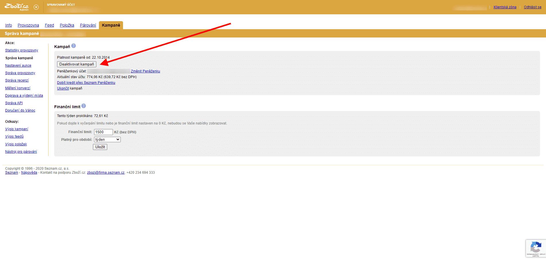 Zboží.cz, deaktivace kampaně