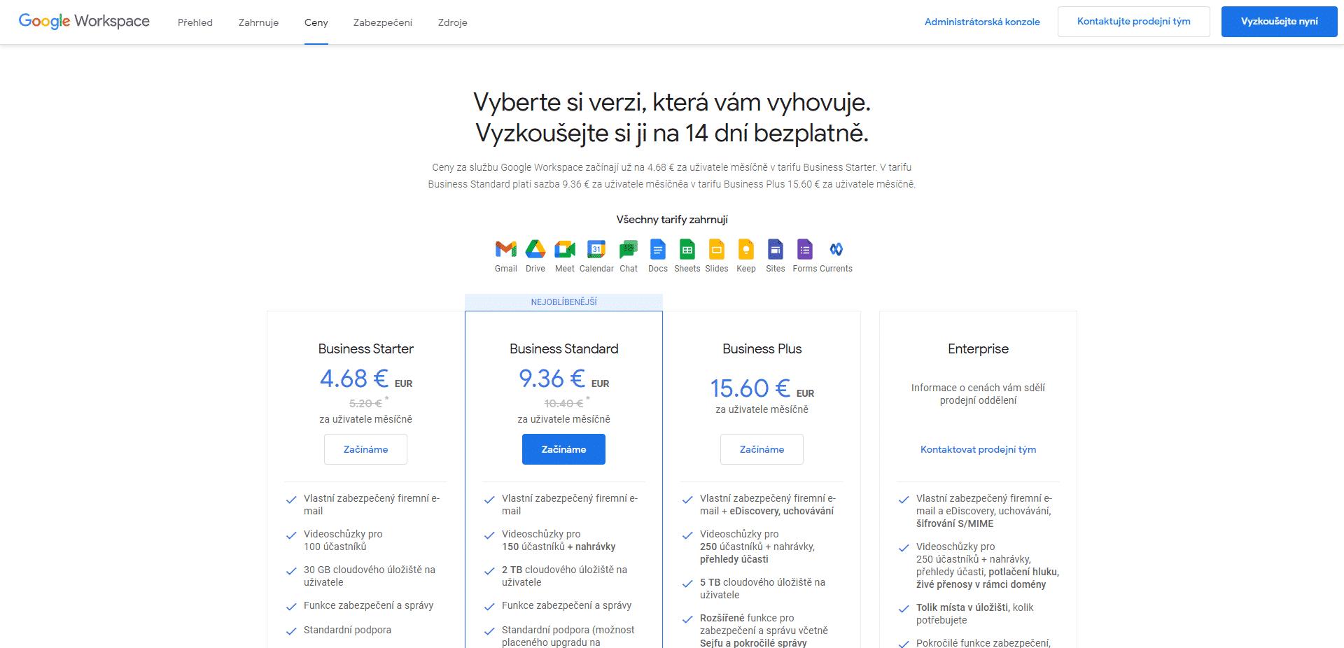 Ceník Google Workspace, 26. 01. 2021