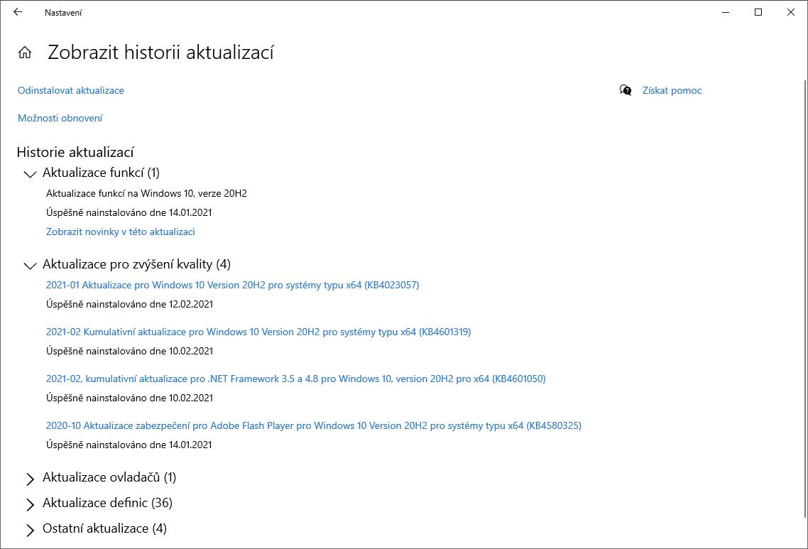 Historie aktualizací Windows 10, verze 20H2