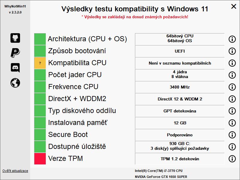 Výsledky testu kompatibility s Windows 11